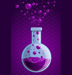 purple chemical flask concept background cartoon vector image