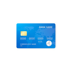 Realistic credit card template plastic blue vector