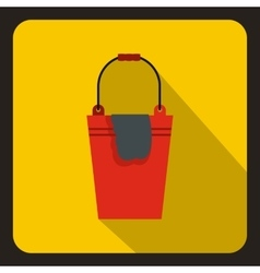 Red bucket and rag icon flat style vector
