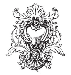 Rococo strap-work frame was unsymmetrical and vector
