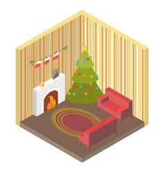 Room isometric with christmas treefireplace vector