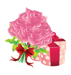 Roses and gift box vector
