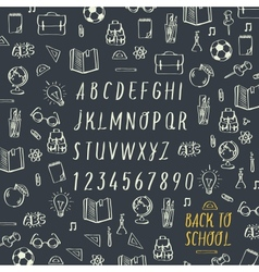 Schools hands draw chalk written font vector image