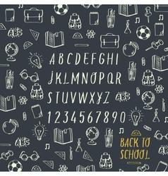 Schools hands draw chalk written font vector