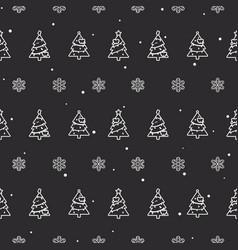seamless christmas trees and snowflake pattern vector image