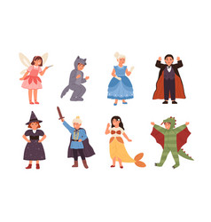 set cute children wearing costumes fairytale vector image