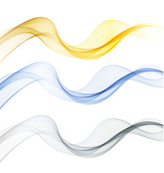 set of abstract color wave smoke transparent wavy vector image