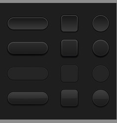 Set of black matted blank buttons normal and vector