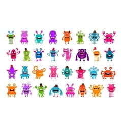 Set of cartoon cute monsters vector