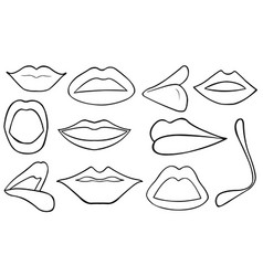 set of different lips vector image
