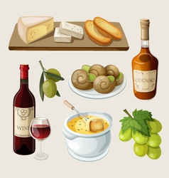 set traditional french drinks and appetizers vector image