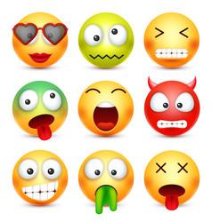 Smiley set greenredhappysadilltired emoticon vector