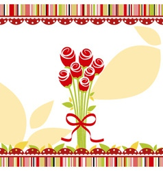 Springtime love greeting card with red rose flower vector
