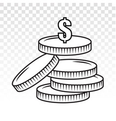 Stack dollar coins or payment dollar bill flat vector