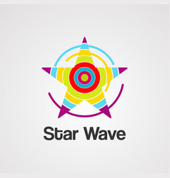 star wave logo icon element and template vector image