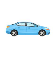 Sticker blue sedan on white background vector