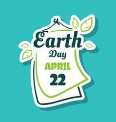 sticker earth day april 22 vector image