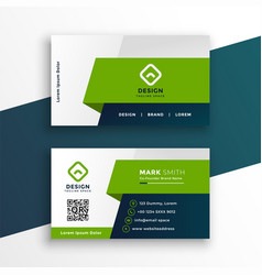 Stylish green geometric business card design vector