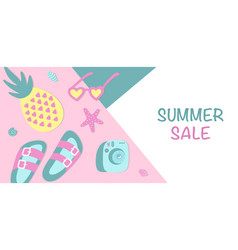 summer sale horizontal banner minimalist summer vector image