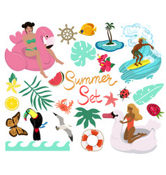 summer set various design elements isolates vector image