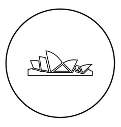 Sydney opera house icon black color in circle vector