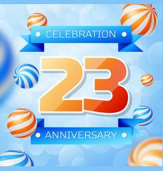 twenty three years anniversary celebration design vector image