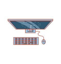 view aerial computer with clock in screen vector image