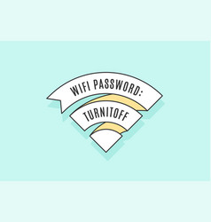 vintage ribbon wifi sign for free wi-fi in cafe or vector image