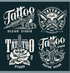 Vintage tattoo studio badges vector