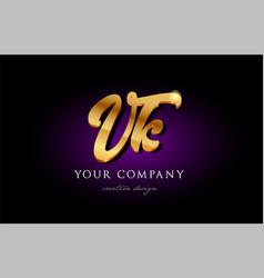 Vk v k 3d gold golden alphabet letter metal logo vector