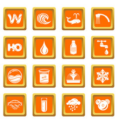 Water icons set orange square vector
