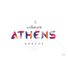 Welcome to athens greece card and letter design vector