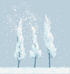 winter snowy landscape with snow covered trees vector image