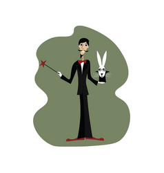 With rabbit on white background vector
