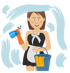 woman cleaning window with cleanser spray vector image
