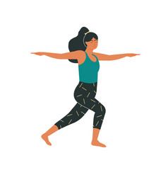 Woman in modern variation a warrior pose ii vector