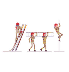 Young male firefighter at ladder and pole vector