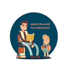 young man reading book to little girl vector image