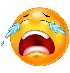 A sad crying emoticon smiley face character vector image