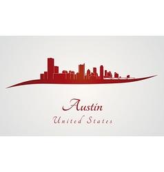 Austin skyline in red vector image