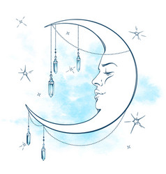blue crescent moon with moonstone pendants vector image vector image