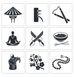 Martial Arts Icons Set vector image vector image