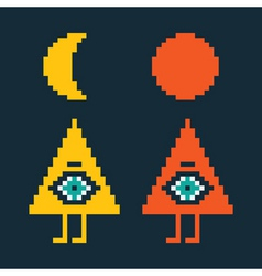 two pyramids with eyes vector image vector image