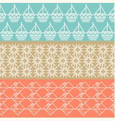 Vintage geometric horizontal seamless pattern set vector