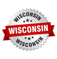 Wisconsin round silver badge with red ribbon vector image