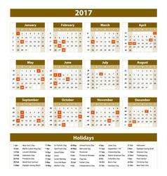Calendar 2017 set 12 month on brown background vector image