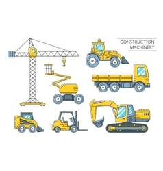 Heavy construction machinery transport outline vector image