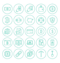 line cryptocurrency circle icons vector image