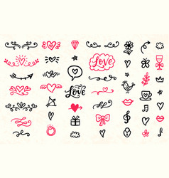 set of valentines day hand drawn doodles icons vector image vector image