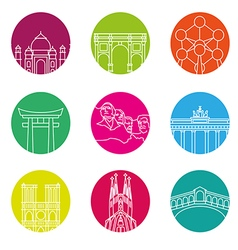 World landmarks outline icons abstract set vector image vector image
